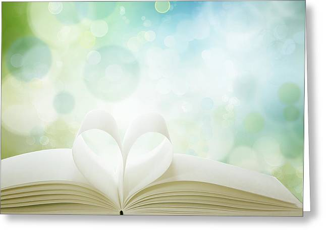 Booklove Greeting Card by Les Cunliffe