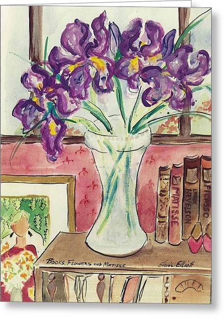 Greeting Card featuring the painting Books Flowers And Matisse by Elaine Elliott
