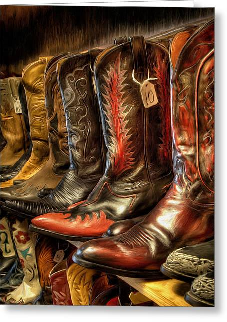 Boot Rack Greeting Card by Michael Pickett