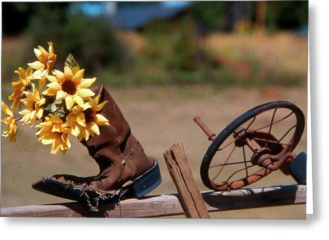 Greeting Card featuring the photograph Boot With Flowers by Ron Roberts