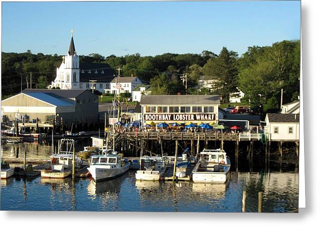 Boothbay Lobster Wharf Maine Greeting Card by Patricia E Sundik