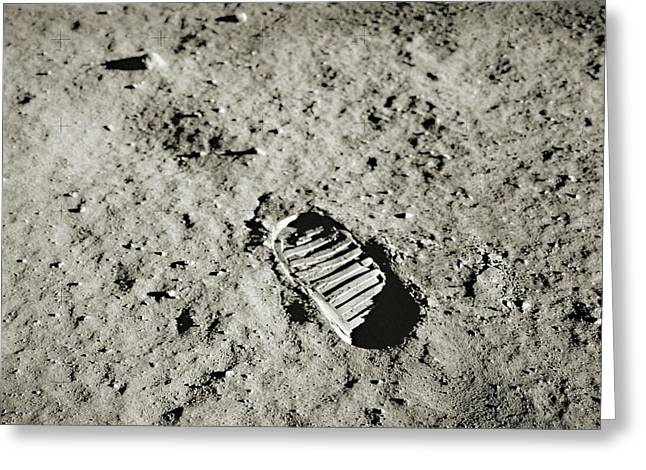 Bootprint On The Moon Greeting Card by Nasa/detlev Van Ravenswaay