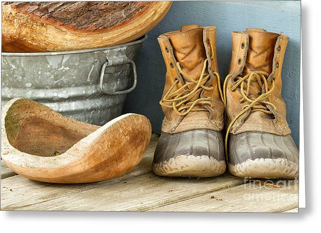 Boots And Bowls Greeting Card by Dawna  Moore Photography