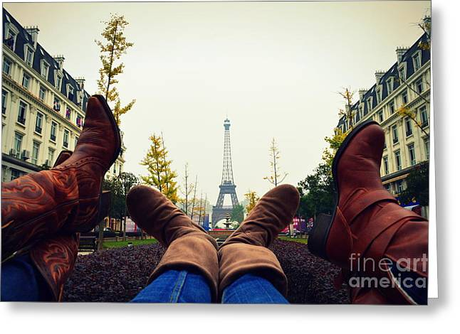Boots In Paris Greeting Card