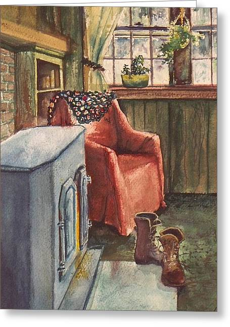 Greeting Card featuring the painting Boots by Joy Nichols
