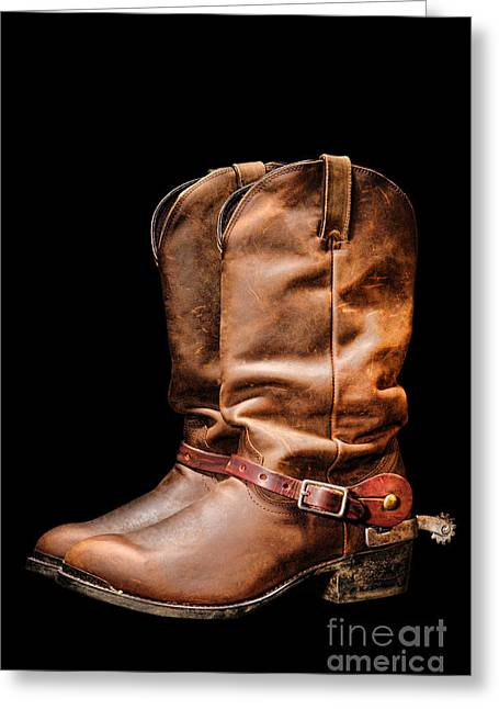 Boots On Black Greeting Card by Olivier Le Queinec
