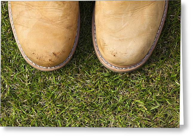Boots On Grass Greeting Card