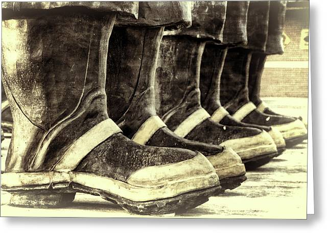 Boots On The Ground Monotone Greeting Card by Joan Carroll