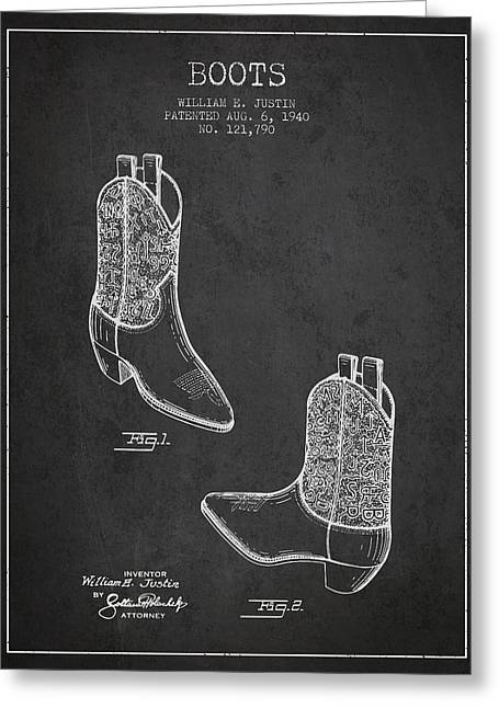 Boots Patent From 1940 - Charcoal Greeting Card by Aged Pixel
