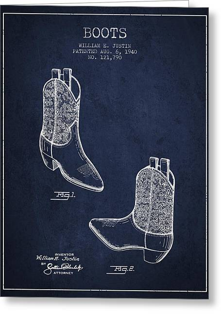 Boots Patent From 1940 - Navy Blue Greeting Card by Aged Pixel