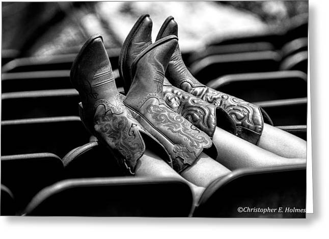 Boots Up - Bw Greeting Card by Christopher Holmes