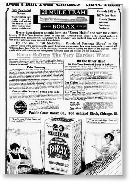 Borax Detergent Advert Greeting Card by Library Of Congress