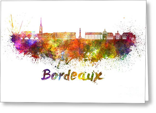 Bordeaux Skyline In Watercolor Greeting Card by Pablo Romero