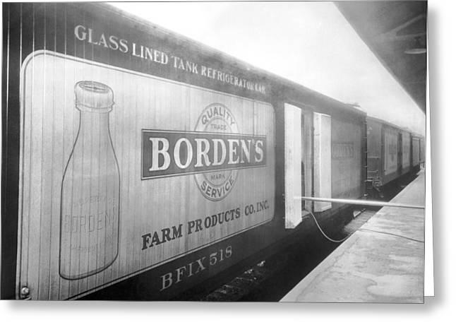 Borden's Milk Refrigerator Car Greeting Card by Underwood Archives