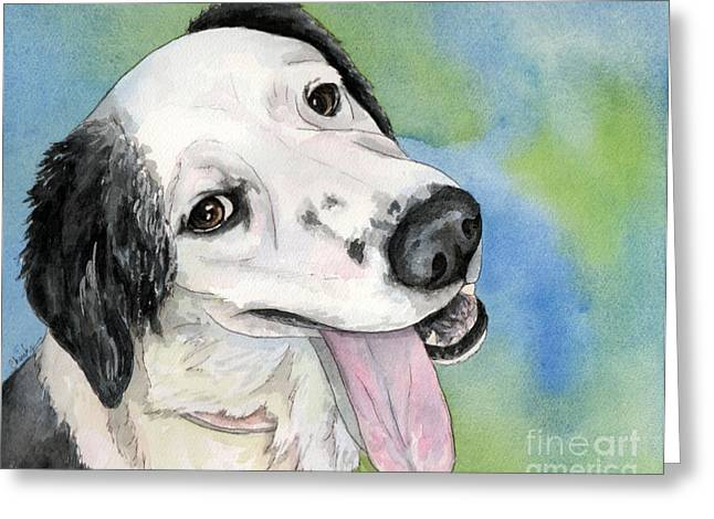 Border Collie Mix Dog Greeting Card by Cherilynn Wood