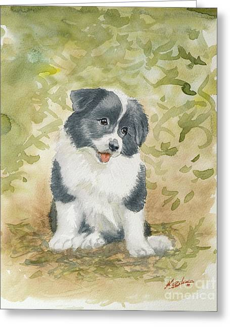 Border Collie Pup Portrait II Greeting Card by John Silver
