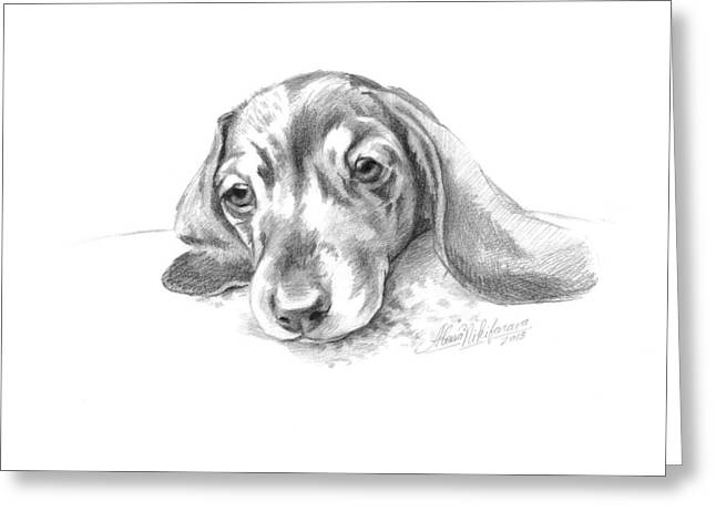 Bored. Little Dachshund Greeting Card