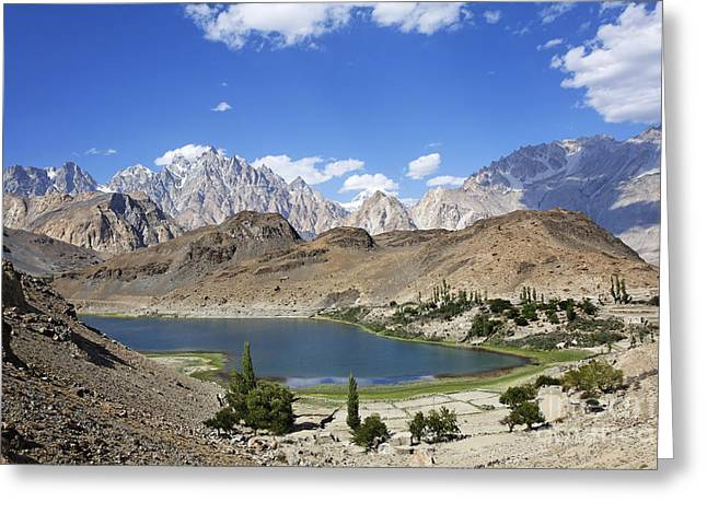 Borith Lake And Mountains In Pakistan Greeting Card by Robert Preston