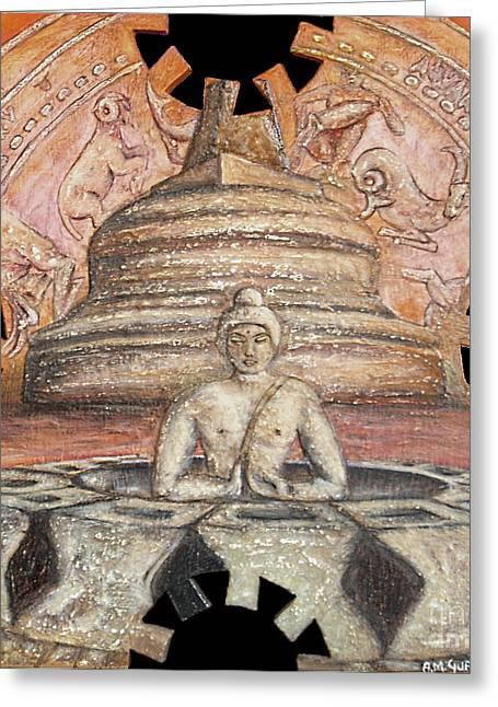 Borobudur Greeting Card by Anna Maria Guarnieri