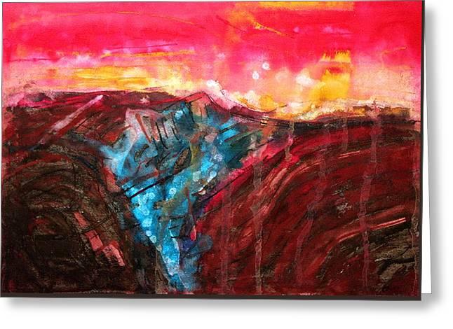 Borrego Badlands Original Painting Greeting Card by Sol Luckman