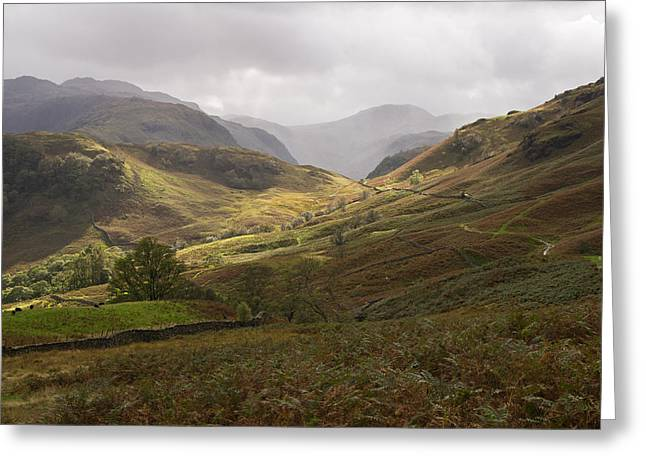 Borrowdale Towards Great Gable Greeting Card