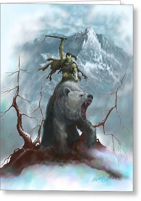Borus And The Bear Greeting Card by Matt Kedzierski