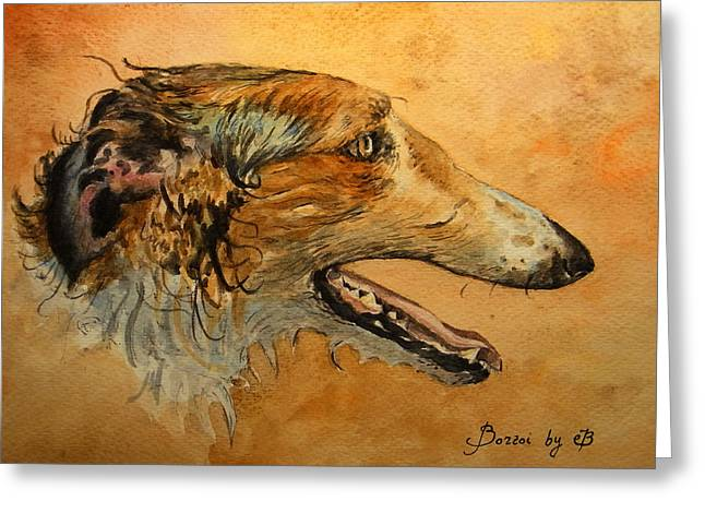 Borzoi Dog Greeting Card by Juan  Bosco