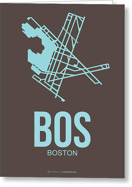 Bos Boston Airport Poster 2 Greeting Card by Naxart Studio