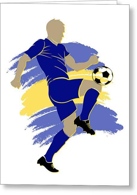 Bosnia Soccer Player Greeting Card by Joe Hamilton