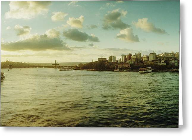 Bosphorus Strait At Sunset, Istanbul Greeting Card by Panoramic Images