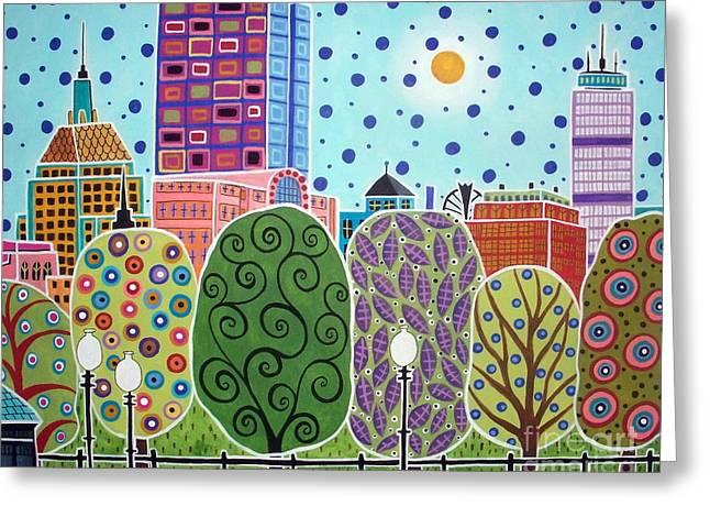 Boston Abstract Greeting Card by Karla Gerard