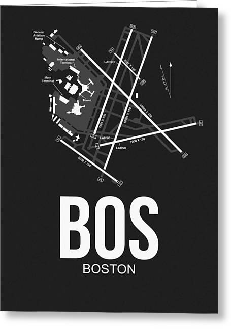 Boston Airport Poster 1 Greeting Card by Naxart Studio
