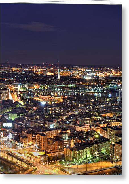 Boston And The Bunker Hill Monument Greeting Card