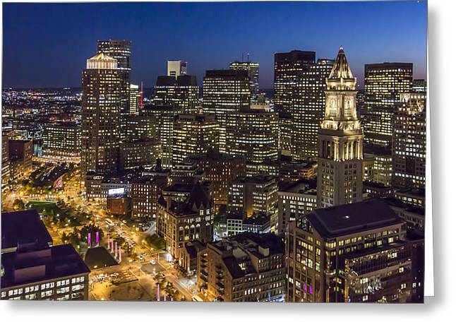 Boston And The Custom House Tower At Night Greeting Card by Dave Cleaveland