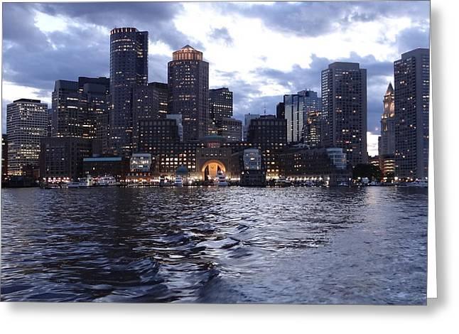 Boston At Twilight Two Greeting Card by Laura Lee Zanghetti
