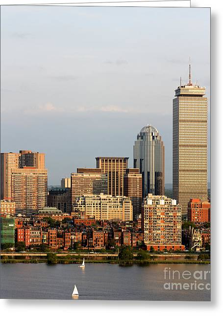 Boston Back Bay Above The Charles Greeting Card by Jannis Werner