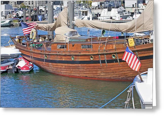 Boston Boat Greeting Card by Betsy Knapp