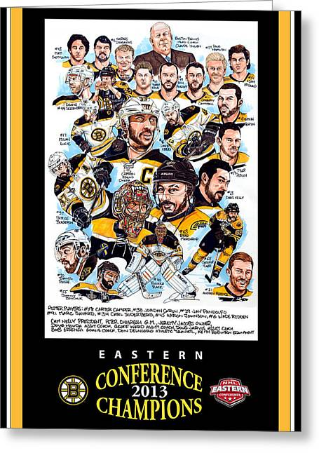 Boston Bruins Greeting Card by Dave Olsen