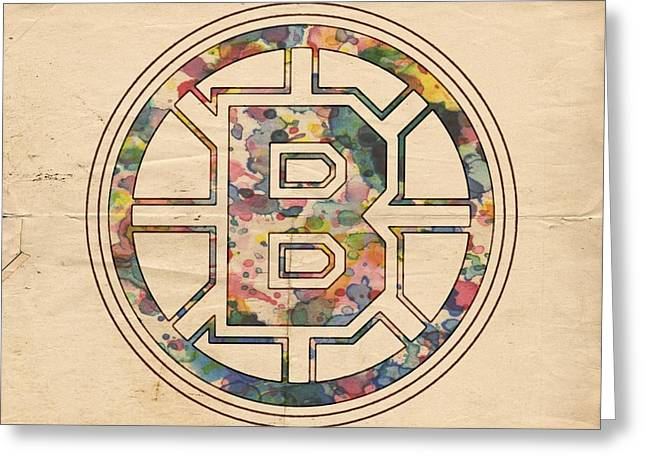 Boston Bruins Poster Art Greeting Card by Florian Rodarte