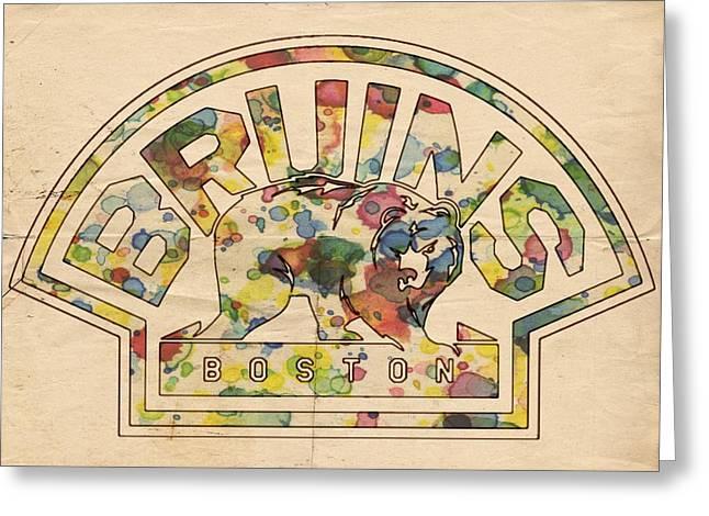 Boston Bruins Retro Poster Greeting Card