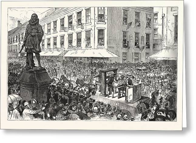 Boston Celebration The Procession Passing Winthrop Statue Greeting Card by Graham, Charles (1852-1911), American