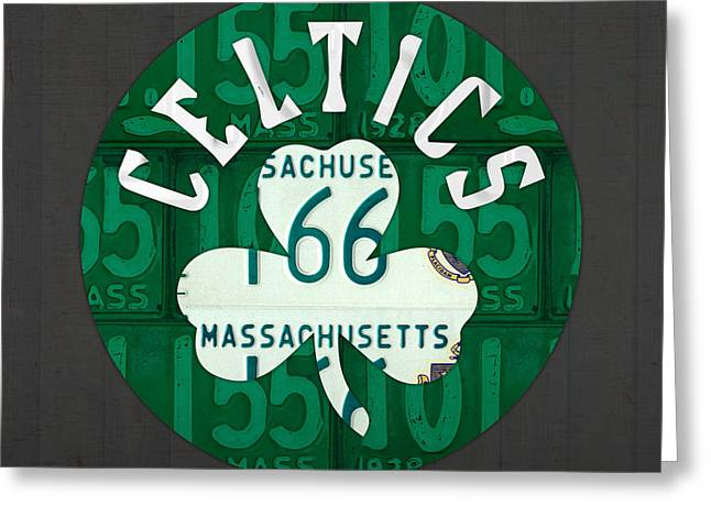 Boston Celtics Basketball Team Retro Logo Vintage Recycled Massachusetts License Plate Art Greeting Card by Design Turnpike