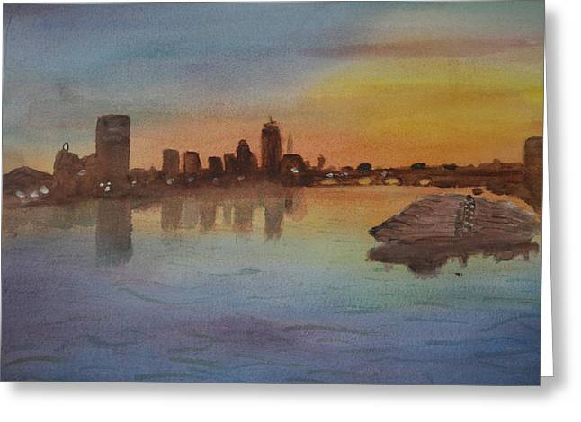 Boston Charles River At Sunset  Greeting Card by Donna Walsh