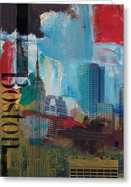 Boston City Collage 3 Greeting Card by Corporate Art Task Force