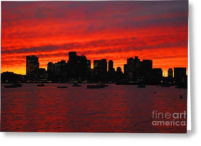 Boston City Sunset Greeting Card