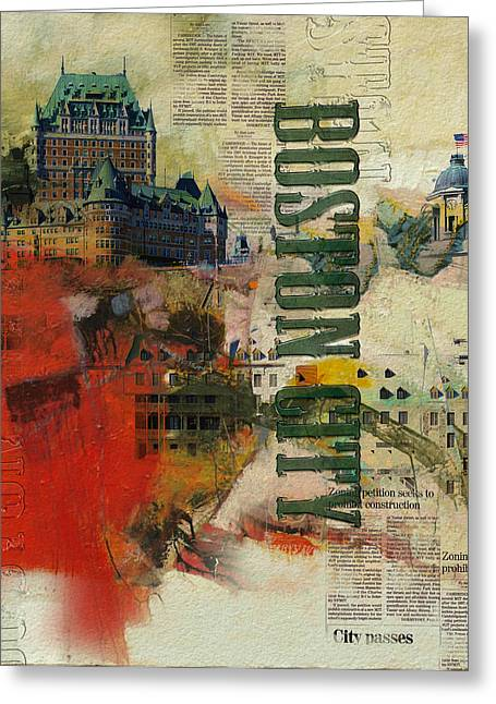 Boston Collage Greeting Card by Corporate Art Task Force