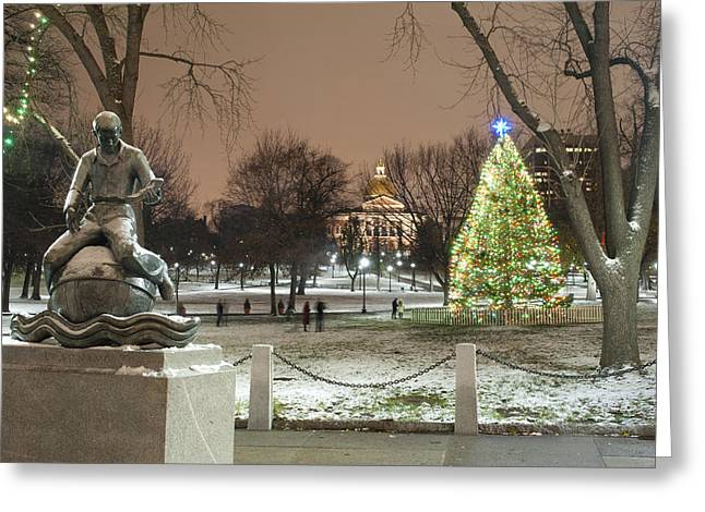 Boston Common Christmas Lights Greeting Card by Gretchen Lally