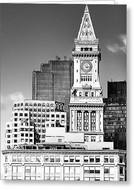 Boston Custom House Tower Above The Skyline Greeting Card