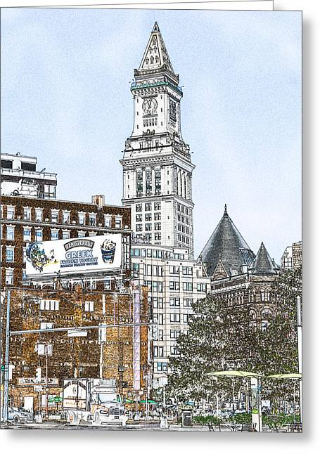 Boston Custom House Tower Greeting Card