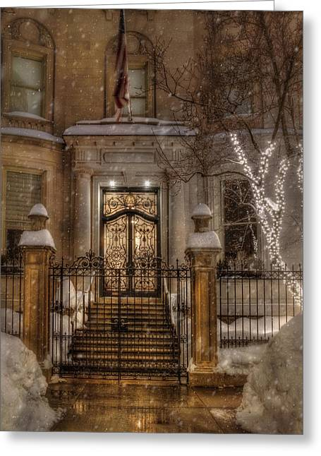 Boston Doorway In Snow - Back Bay Greeting Card